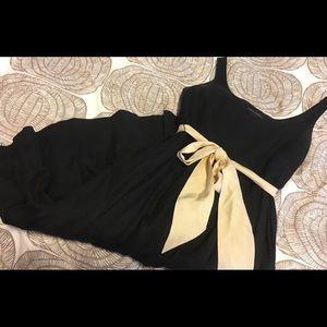 Linen silk black dress with sash